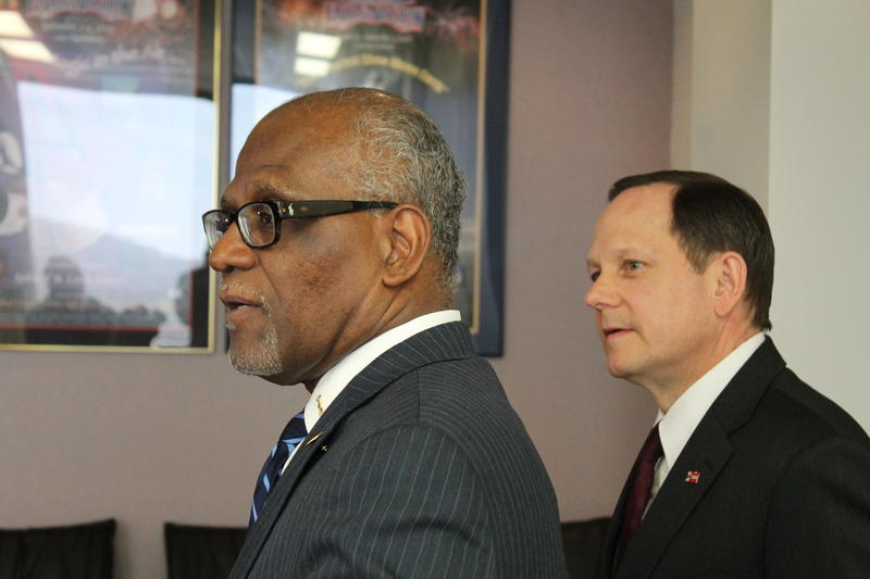 St. Louis County Executive Charlie Dooley and St. Louis Mayor Francis Slay held a press conference on Wednesday to calm tensions over the runup to a grand jury decision over Ferguson Police officer Darren Wilson.