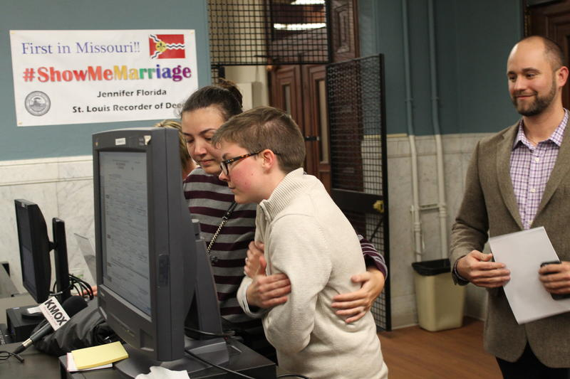 Lilly Leyh and Sadie Pierce wait to get their marriage license on Nov. 5, 2014, at the St. Louis recorder of deeds office.