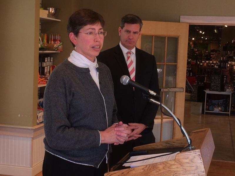 Illinois Lt. Gov. Sheila Simon talked to reporters Thursday in Belleville about the impact of military spending throughout the state.
