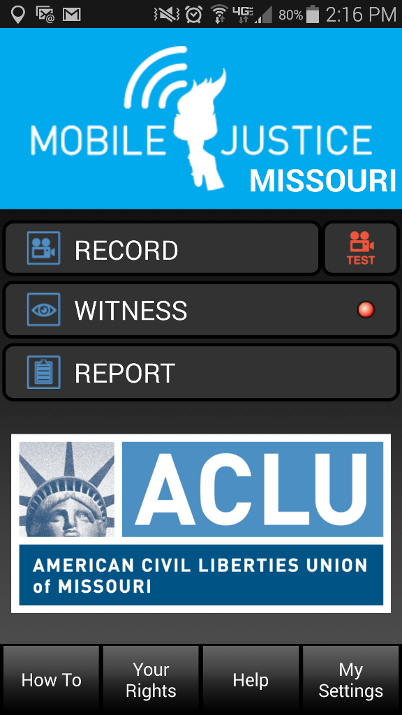 "ACLU of Missouri ""Mobile Justice"" app. Screenshoot"