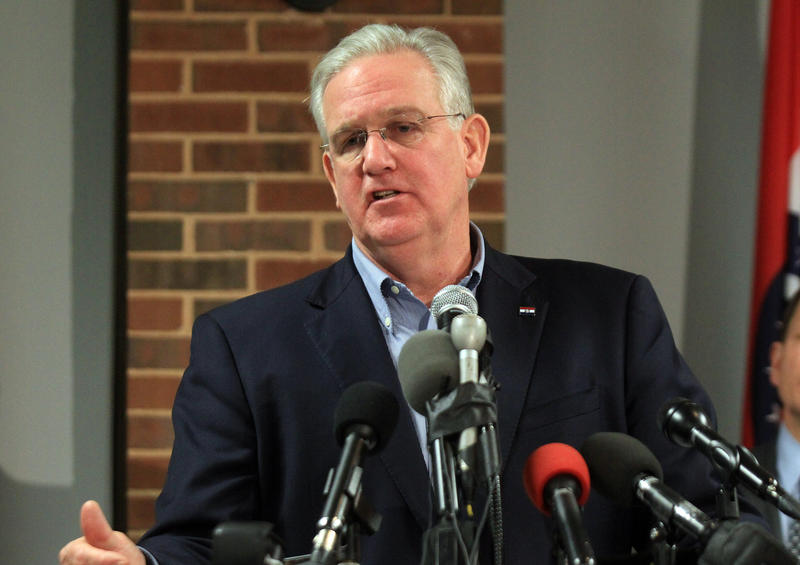 Missouri Gov. Jay Nixon speaking Monday at a news conference before the grand jury announcement on Monday, Nov 25, 2014