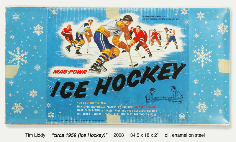 Circa 1959, Ice Hockey, 2008, 34.5x18x2 inches, oil, enamel on steel
