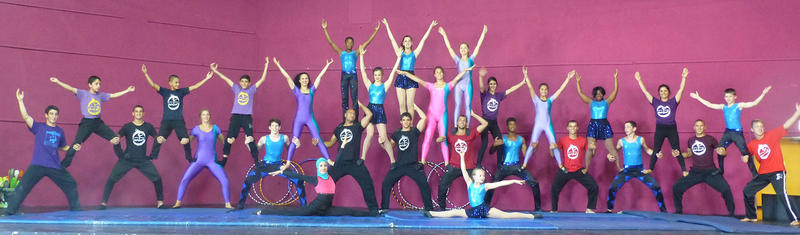 Circus Harmony performers join with members of the Galilee Circus in July in Haifa, Israel.