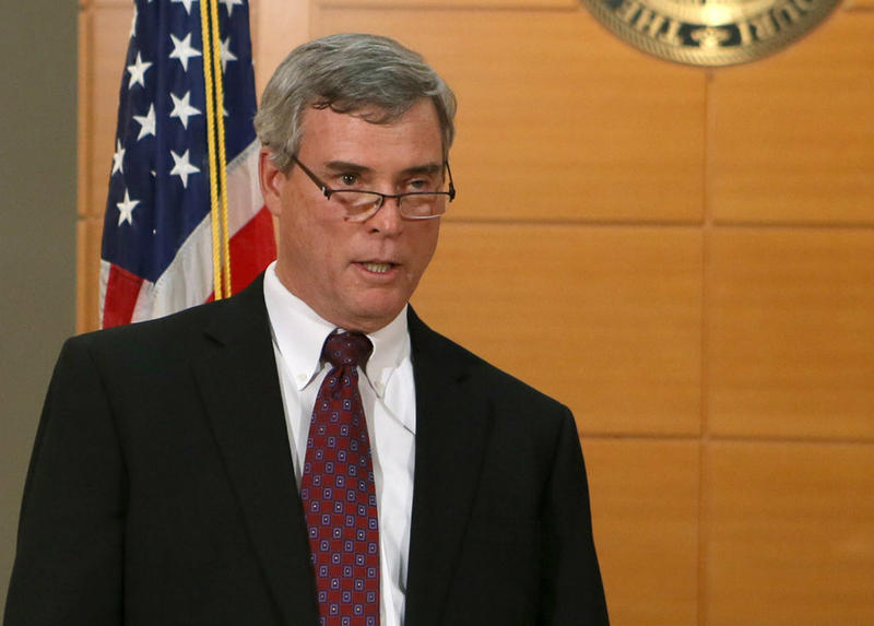 St. Louis County Prosecuting Attorney Robert McCulloch announces that the grand jury declined to indict Darren Wilson on any of five counts that were presented to it.