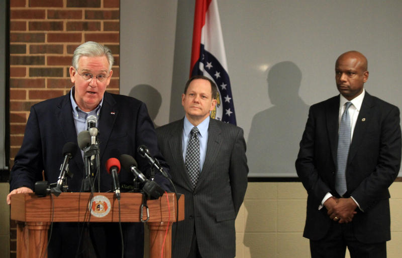 Gov. Jay Nixon talks about hopes for calm before the Darren Wilson decision as St. Louis Mayor Francis Slay and Daniel Isom, the new director of the Missouri Department of Public Safety.