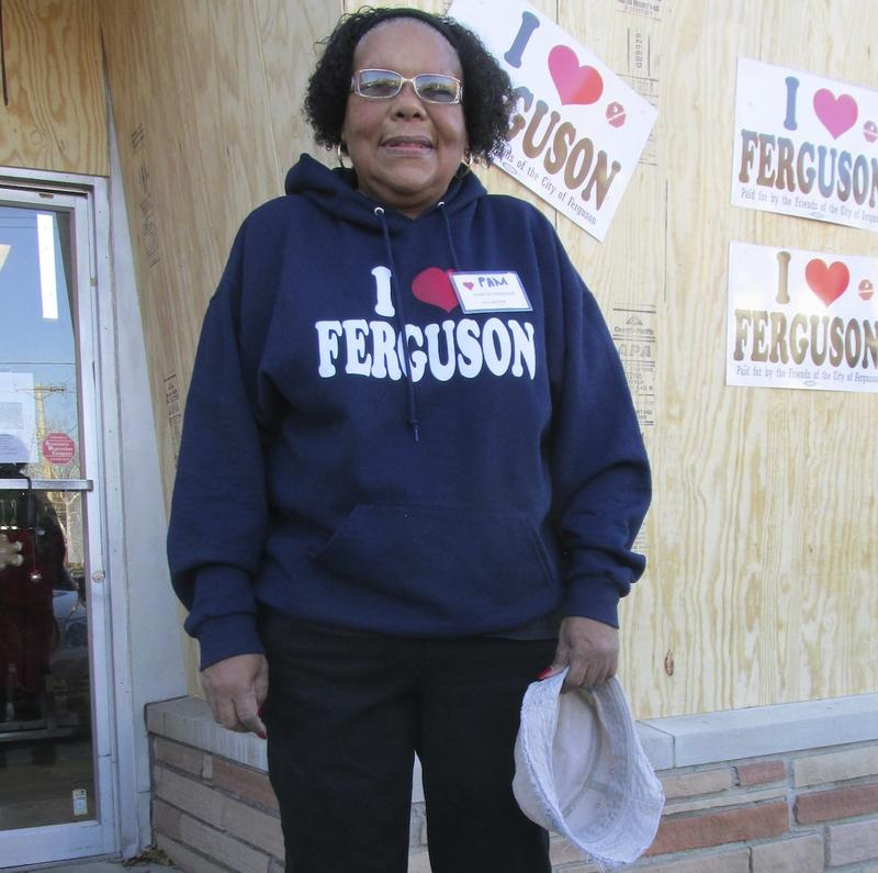 "Pamela Peters volunteers at the ""I Love Ferguson"" store."