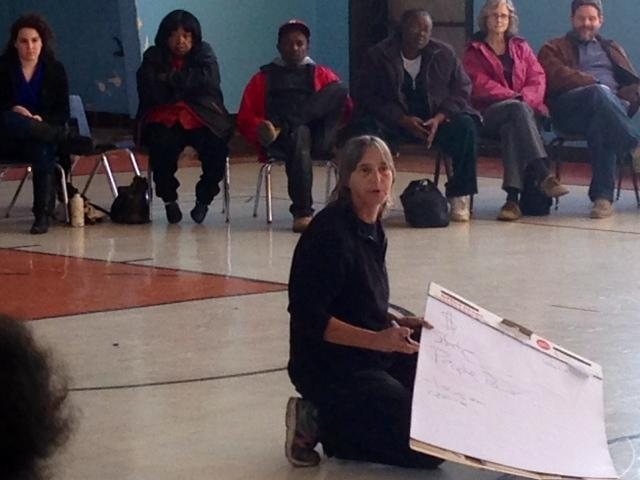 Activist Lisa Fithian leads a training session at Greater St. Mark's Church in Dellwood. 11/08 Durrie Bouscaren