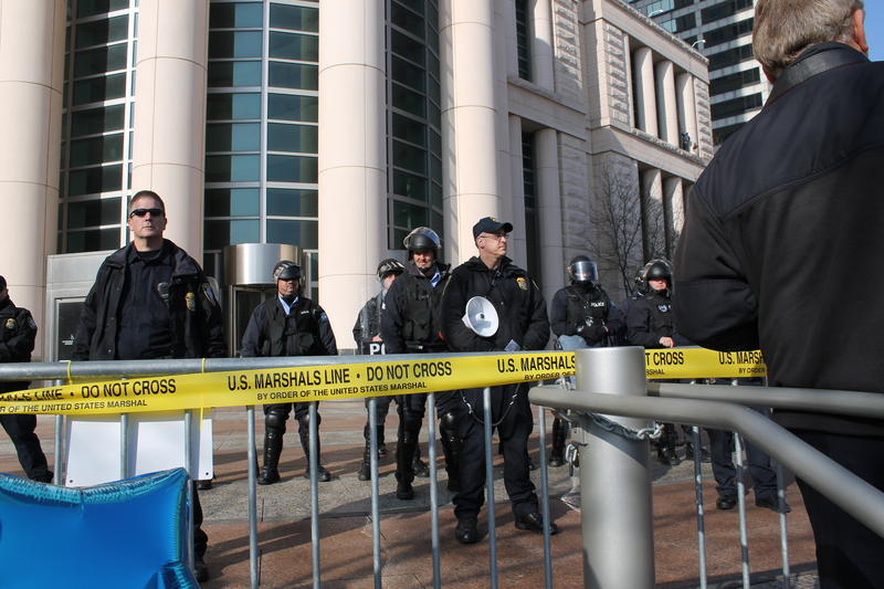 12.12 Law enforcement officers were present outside the Thomas F. Eagleton US Courthouse in downtown St. Louis.