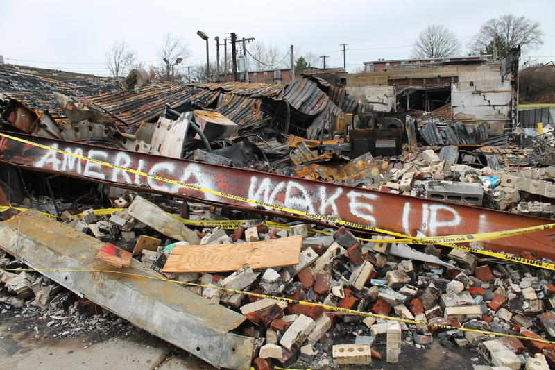 The rubble of a burned down business on West Florissant Avenue in Ferguson.