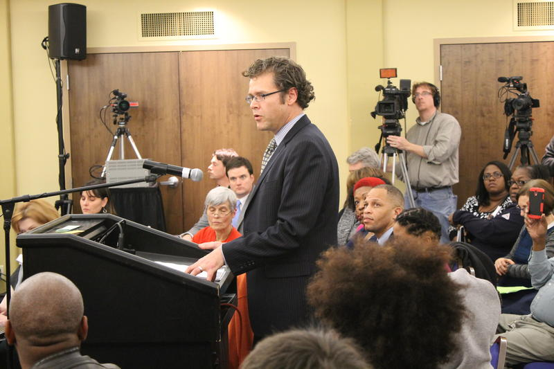 Arch City Defenders executive director Thomas Harvey spoke during the last meeting of the Ferguson Commission.