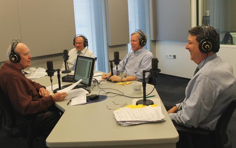 'St. Louis on the Air' legal roundtable members discuss law issues on Dec. 15, 2014, at St. Louis Public Radio. From left, Don Marsh, 'St. Louis on the Air' host; William Freivogel, professor at Southern Illinois University–Carbondale's Paul Simon Publ