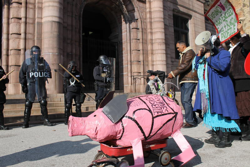 A paper mache pinata of a pig was pulled throughout the entire demonsration. On it, the names are of every law enforcement officer involved in a shooting in St. Louis since the August shooting death of Michael Brown.