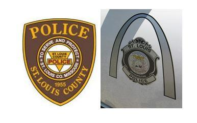 Logos of the St. Louis County and St. Louis Metropolitan Police.