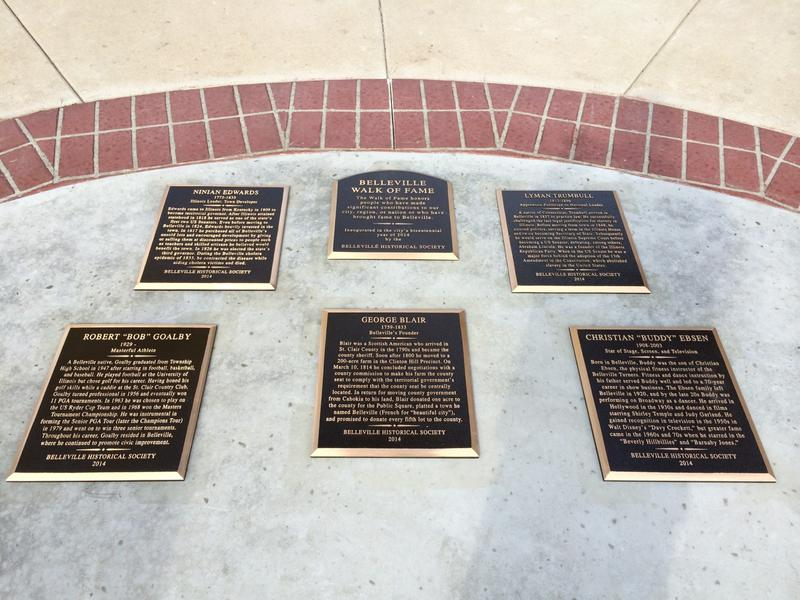 "Five men were inducted into the Belleville Walk of Fame in 2014: Ninian Edwards, Lyman Trumull, Bob Goalby, George Blair and Christian ""Buddy"" Ebsen."