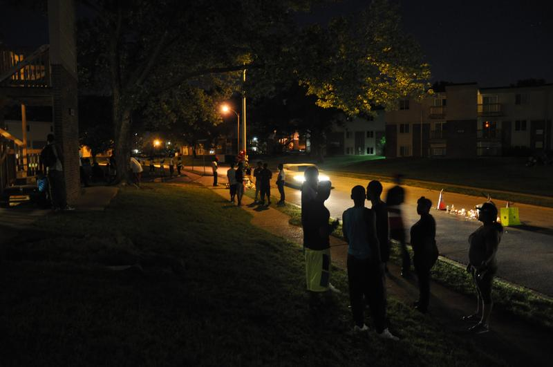 Levy's image of the Michael Brown memorial in Canfield Green the night of August 10, 2014