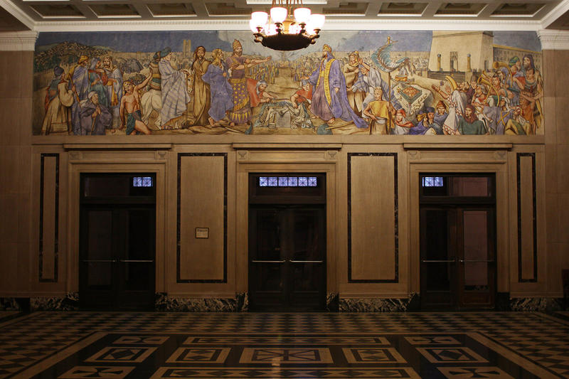 Jessie Housley Holliman's fresco detailing the history of the Masons in New Masonic Temple