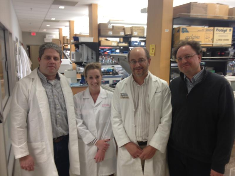Dr. Michael Rettig, research technician Stephanie Meier, Dr. Daniel Link, and Dr. Todd Fehniger, in the lab at Barnes Jewish Hospital.