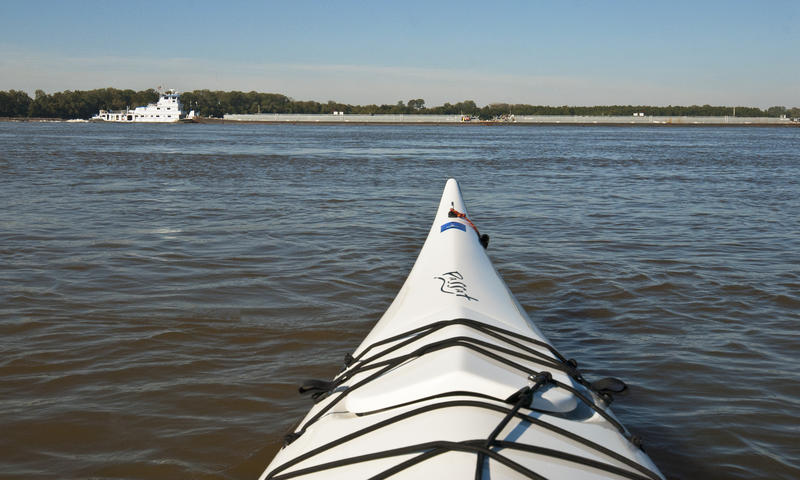 Author Gayle Harper paddled the Mississippi River in a sea kayak near Memphis, where the river is a mile wide.
