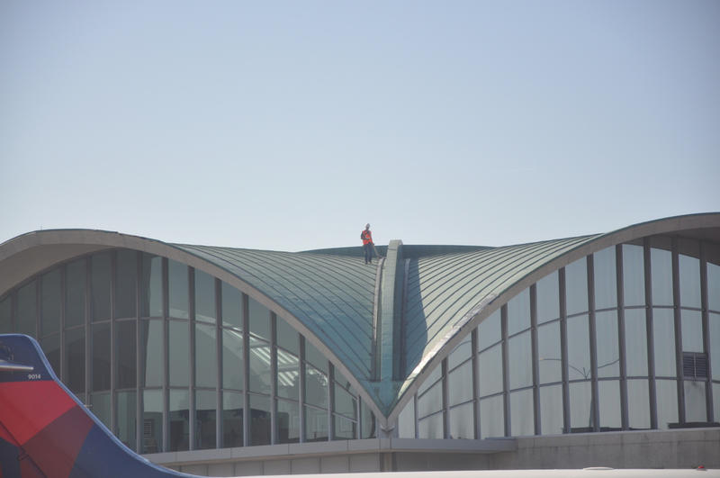 The Lambert International Airport roof was installed in 1956 and sustained damage from a tornado in 2011.