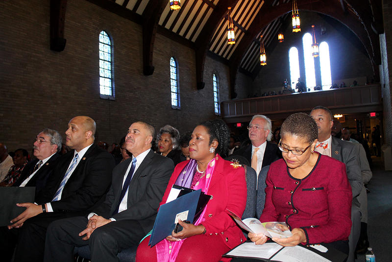 Nine members of the Congressional Black Caucus visited Wellspring United Methodist Church on Sunday. Seated left to right in the first row are: G.K. Butterfield, Andre Carson, Lacy Clay, Sheila Jackson Lee and Karen Bass.