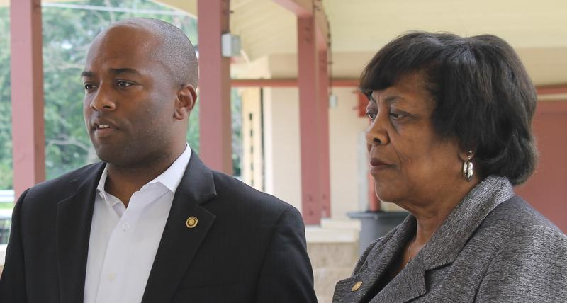 "State Rep. Courtney Curtis, left, and St. Louis County Councilwoman Hazel Erby speak a news conference last year. Curtis is sponsoring ""right to work"" legislation aimed at construction unions, which he contends haven't done enough to bring minori"