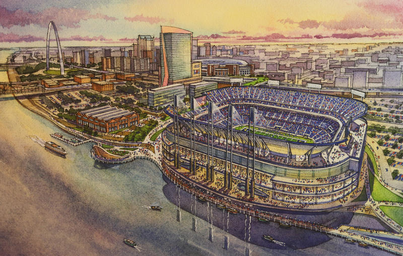 A drawing of the new stadium on St. Louis' riverfront.