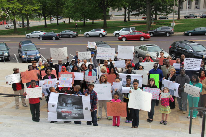 """Egbe Omo Yoruba of Greater St. Louis held a """"Bring Back Our Girls"""" peace rally at the downtown Central Library last May, after the terrorist group Boko Haram kidnapped 200 girls in Nigeria."""