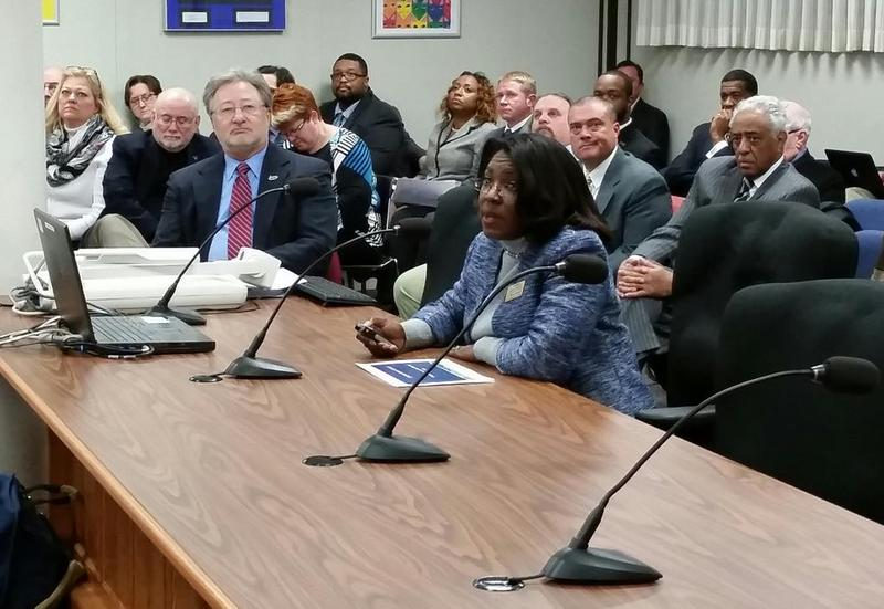Tiffany Anderson appears before the state board of education in Jefferson City Tuesday.