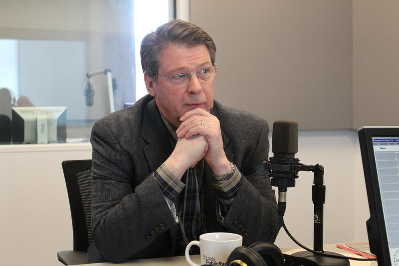Vince Schoemehl, former St. Louis mayor and president of Grand Center Inc., talks to 'St. Louis on the Air' host Don Marsh on Jan. 12, 2015, at St. Louis Public Radio in St. Louis.