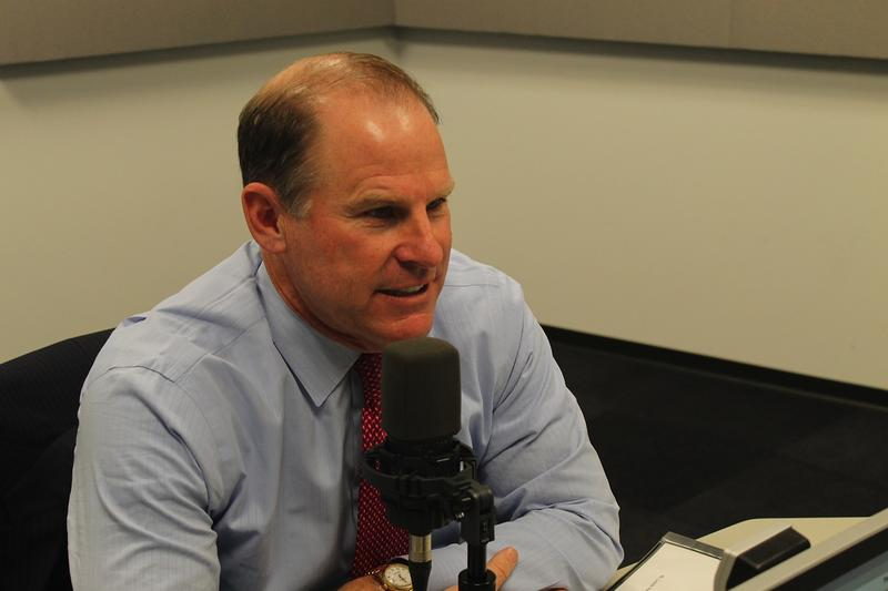 University of Missouri System President Tim Wolfe talks to 'St. Louis on the Air' host Don Marsh on Jan. 29, 2015, at St. Louis Public Radio in St. Louis.