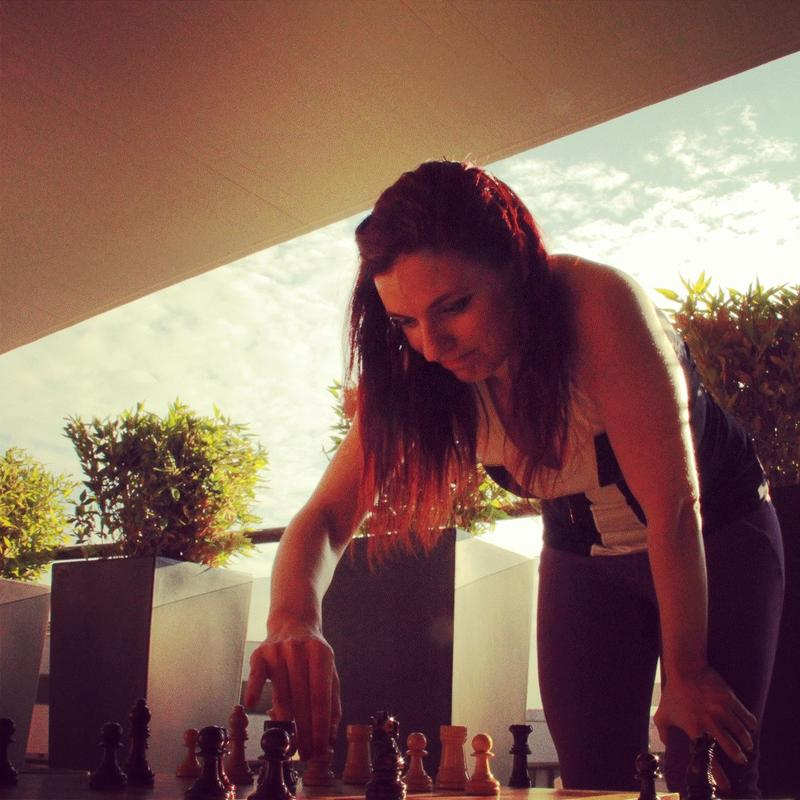 Jennifer Shahade has become a proponent of chess players working out.