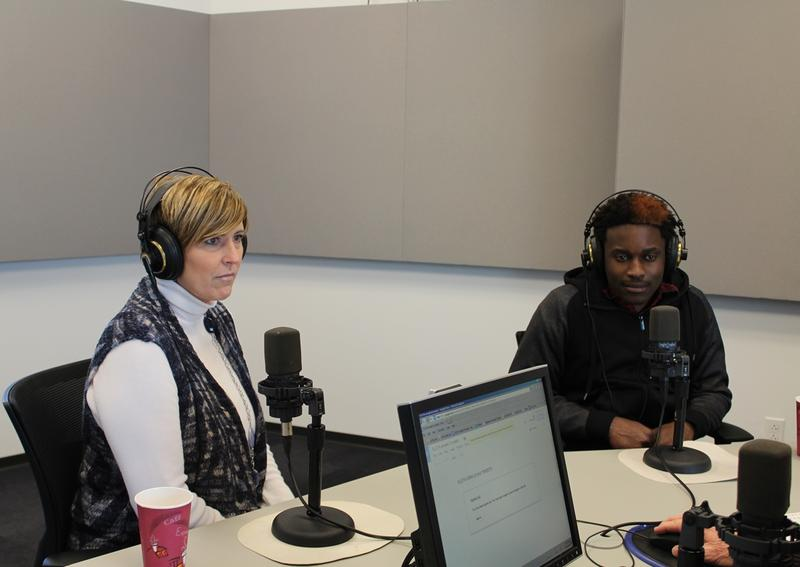Suzanne Wagener, executive director of Covenant House Missouri, and Anthony S., a participant in the organization's traditional living program, talk to 'St. Louis on the Air' host Don Marsh on Feb. 24, 2015, at St. Louis Public Radio in St. Louis.