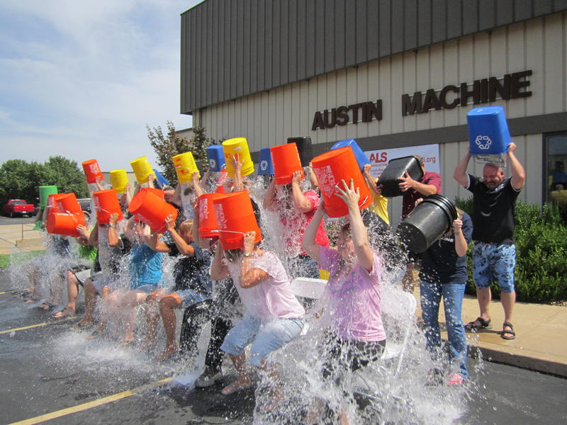 Austin Machine employees in O'Fallon, Mo., participate in the ice bucket challenge.