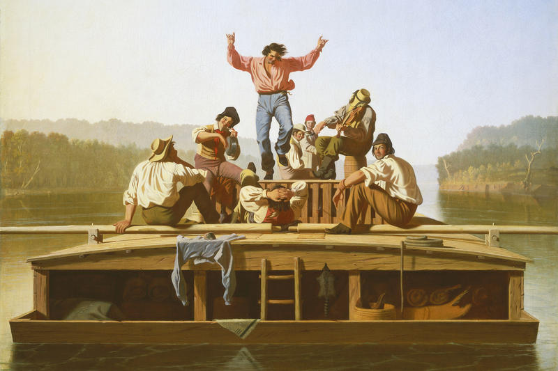 George Caleb Bingham painted 'The Jolly Flatboatmen' in 1846. The oil-on-canvas painting is part of the St. Louis Art Museum's Bingham exhibit.