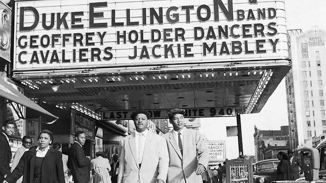 Clark Terry, the man at the left, when he was with Ellington's orchestra, around 1955