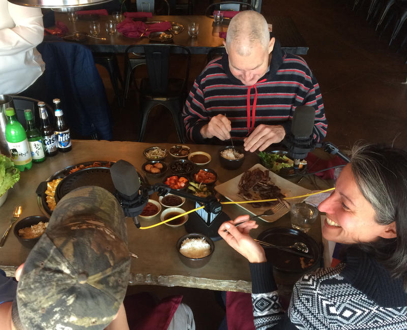 Steve Potter, Ligaya Figueras, and David Choi sample barbecue on Feb. 3, 2015, at Seoul Q in St. Louis.