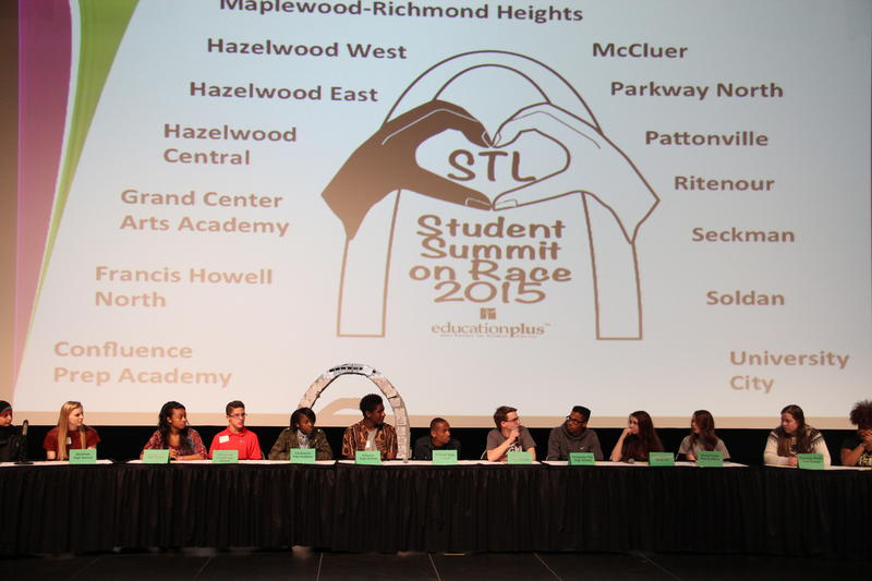 Students talk about racial issues during a panel discussion at Ritenour High School on Feb. 25, 2015.