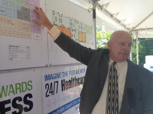 Developer Paul McKee outlined his plans for an urgent care hospital at 25th St. and Maiden Ln. in July of last year.
