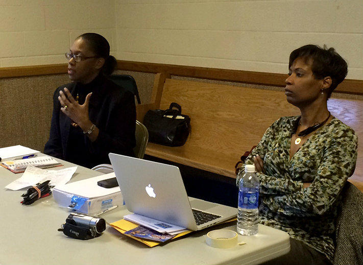 Monica Johnson (left) and Kimberly St. Clair lead a job training session for Ferguson 1000 Jobs on Saturday, February 14, 2015.