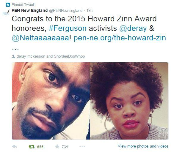 PEN New England award Twitter announcement Deray McKesson and Johnetta Elzie