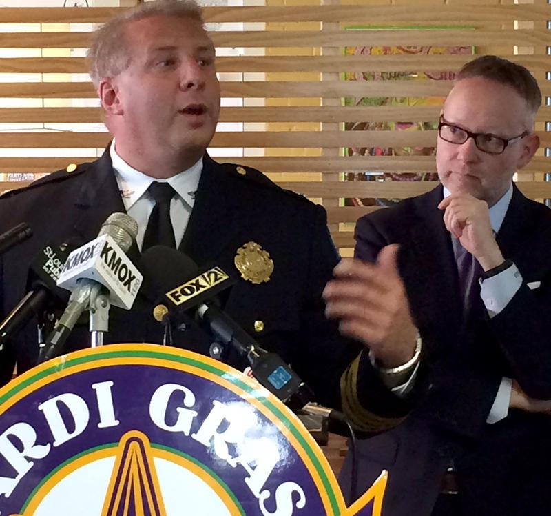 St. Louis Metropolitan Police Chief Sam Dotson explains public safety protocol for the parade as Mardi Gras Foundation President Mack Bradley looks on.