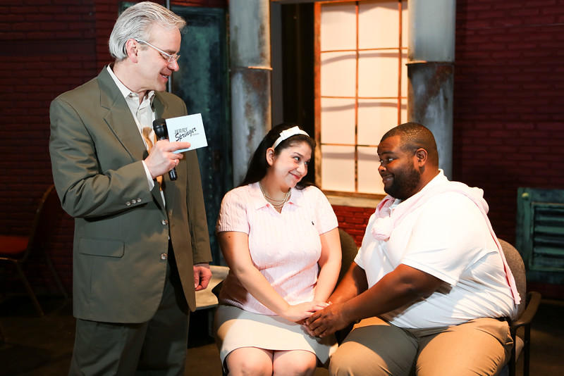 Jerry, Keith Thompson, left, asks Montel, Marshall Jennings, right, why he's brought Andrea, Christina Rios, to the show.
