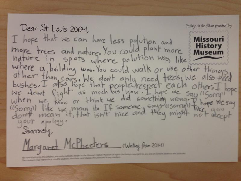 Dear St. Louis 2064: 'I hope that we can have less pollution and more trees and nature,' Margaret McPheeters wrote on her postcard for a Missouri History Museum time capsule.