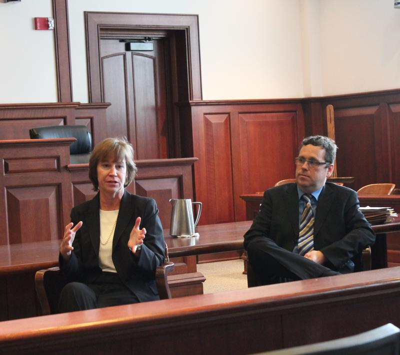 Tony Rothert and Mary Bruntrager on February 25, 2015 after oral arguments on the World Series ticket case