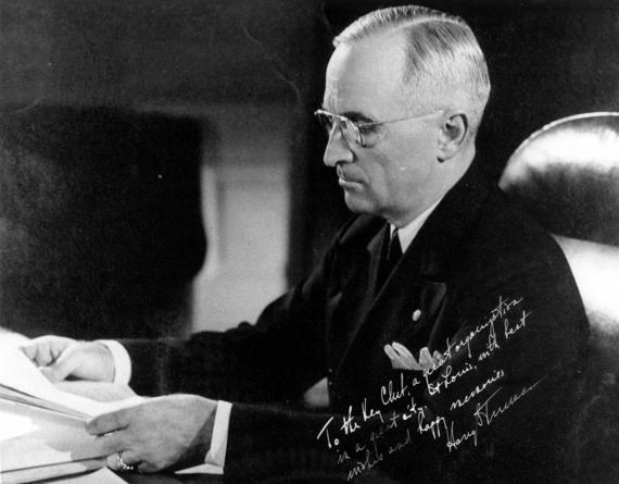 President Harry Truman signed this official portrait during his first term in office. The autograph reads: To the Key Club, a great organization in a great city, St. Louis, with best wishes and happy memories. Harry S Truman