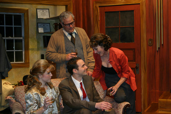Betsy Bowman, left, plays Honey; Michael Amoroso, seated, plays Nick; William Roth plays George and Kari Ely plays Martha in the St. Louis Actors' Studio's 'Who's Afraid of Virginia Woolf?'
