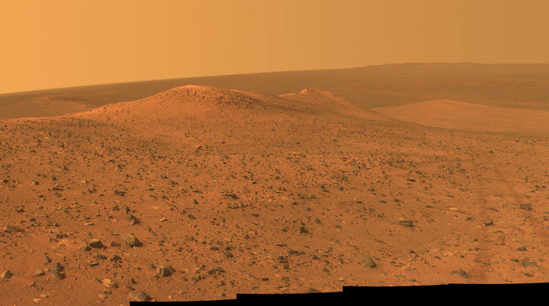 "This vista from NASA's Mars Exploration Rover Opportunity shows ""Wdowiak Ridge."" Opportunity's panoramic camera (Pancam) recorded the component images for this mosaic on Sept. 17, 2014"