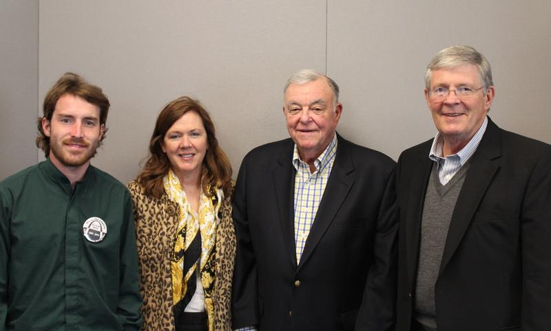 Four members of the Vatterott family gather for a photo after appearing Thursday on 'St. Louis on the Air.' From left: Jim Coughlin, Claire Vatterott Hundelt, Jerry Holden and Greg Vatterott Sr.