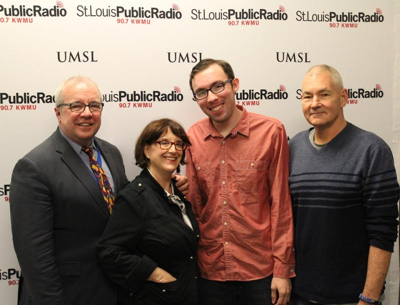 Dr. Ken Haller, far left, Joan Lipkin and John Schmidt are participating in next week's Briefs Festival. The trio talked to 'Cityscape' host Steve Potter, far right, about the event on March 20, 2015, at St. Louis Public Radio in St. Louis.