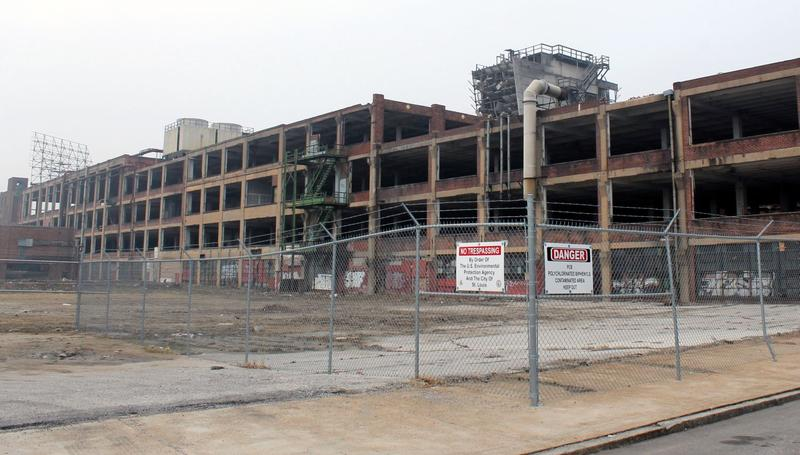 Windows were taken out from all but the first floor as part of the asbestos remediation. In all, 3,700 cubic yards of asbestos were removed from the CBI building.